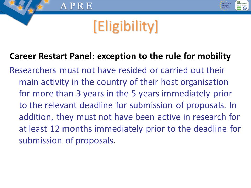[Eligibility] Career Restart Panel: exception to the rule for mobility